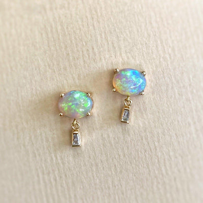 """Delaunay"" 1.60ct Green Crystal Opal & Baguette Diamond Studs Earrings JasonRee"