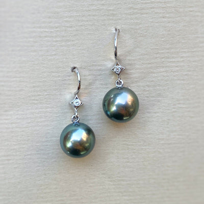"""Twinkle"" South Sea Tahitian Pearl & Diamond Earrings Earrings JasonRee"