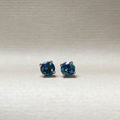 'Classic' 1.13ct Teal Australian White Gold Studs Earrings Jason Ree Design