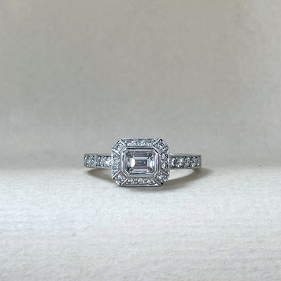 """Daisy"" 0.46ct Micropave Halo Emerald-Cut Diamond Ring Ring Jason Ree Design"