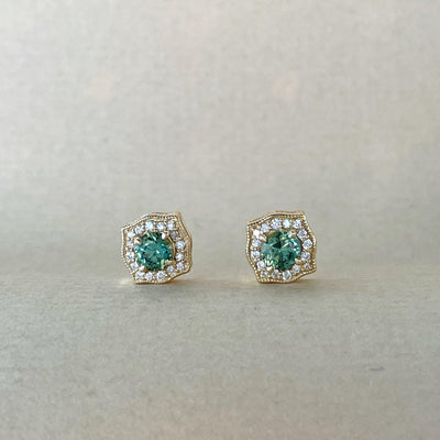 Yellow Gold & Green Sapphire Earring Earrings Jason Ree Design