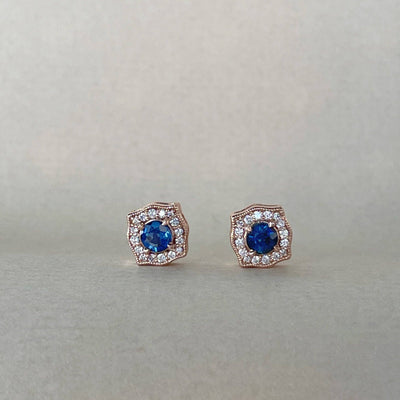 Rose Gold & Blue Sapphire Earring Earrings Jason Ree Design
