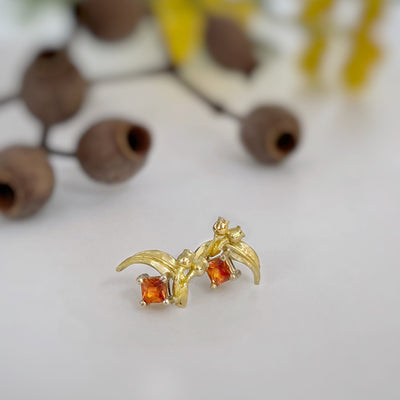 ''GumLeaf'' Orange Sapphire & Yellow Gold Studs Earrings Jason Ree Design