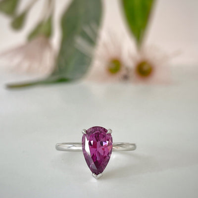 """Highwire Teardrop"" 2.52ct Grape Garnet & Platinum Ring Ring JasonRee"