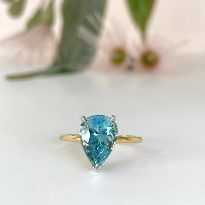 HighWire Teardrop 2.93ct 'Coast' Aquamarine & Yellow Gold Ring Ring JasonRee