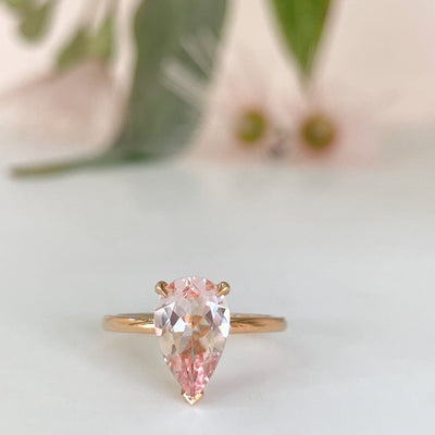 "1.83ct ""HighWire Teardrop"" Pastel Morganite & Rose Gold Ring Ring JasonRee"