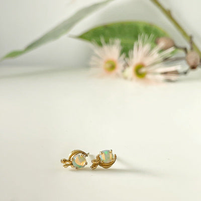 """Gumleaf"" Round Opal 14ct Yellow Gold Studs Earrings JasonRee"