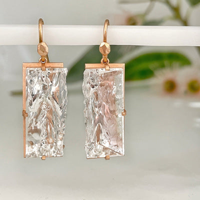 """Crevasse"" Rock Crystal Rose Gold Earrings Earrings JasonRee"