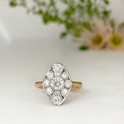 """Navette"" Art Deco Diamond Ring Ring JasonRee"