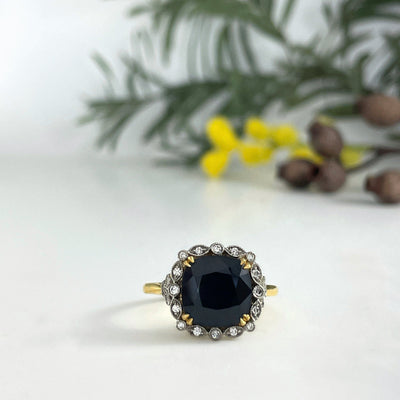 """Tosca Venetia"" 4.62ct Black Australian Sapphire Cocktail Ring Ring JasonRee"