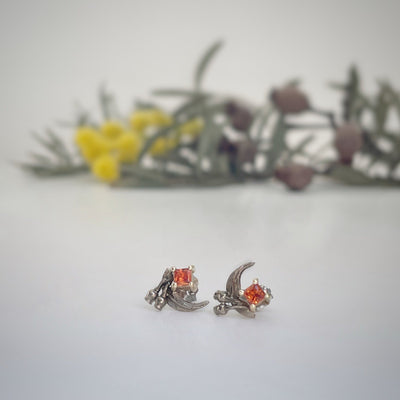 ''GumLeaf'' Orange Sapphire & White Gold Studs Earrings Jason Ree Design