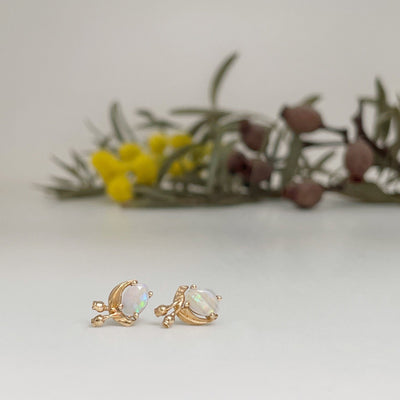 """Gumleaf"" Opal 14ct Yellow Gold Studs Earrings JasonRee"
