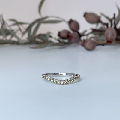 """Wave"" Soft Curve Yellow Sapphire Micropave Band Ring JasonRee"