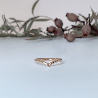 """Wishbone"" Soft Short Curve 18ct Rose Gold Ring Ring JasonRee"