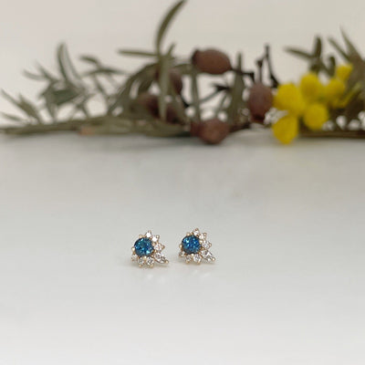 """Tilly"" Blue Australian Sapphire & Diamond Studs Earrings Jason Ree Design"