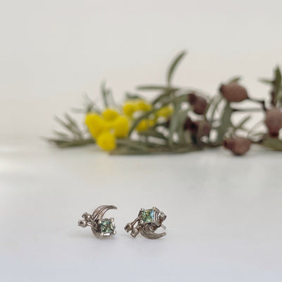 ''GumLeaf'' Green Sapphire & White Gold Studs Earrings Jason Ree Design