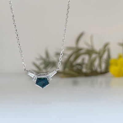 """Fan"" Australian Teal Sapphire and Diamond Pendant Pendant JasonRee"