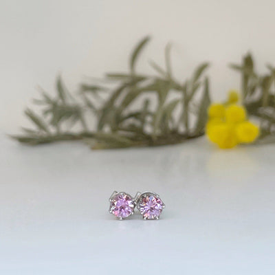 """Pretty in Pink"" Pastel Pink Sapphire & White Gold Studs Earrings JasonRee"