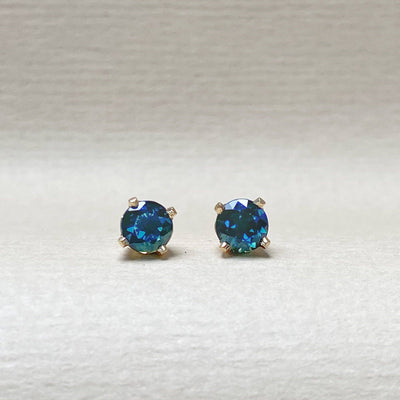 'Classic' 1.18ct Green Blue Australian Yellow Gold Studs Earrings Jason Ree Design