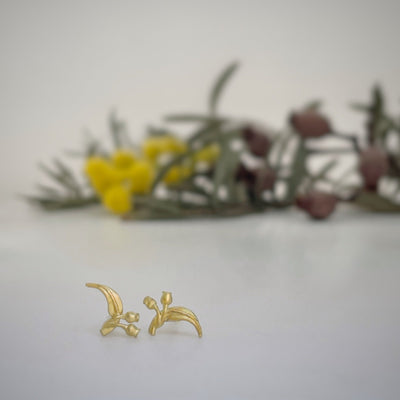 """Gumleaf"" 18ct Yellow Gold Stud Small Earrings JasonRee"