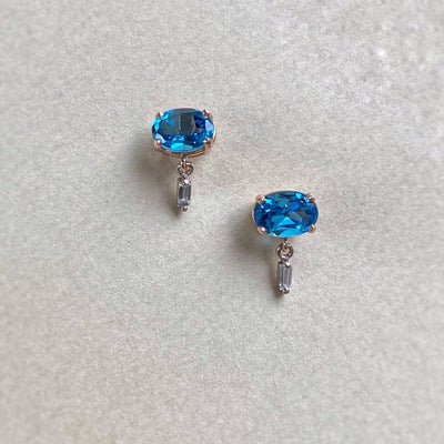 """Delaunay"" 2.12ct Blue Topaz & Baguette Diamond Studs Earrings JasonRee"