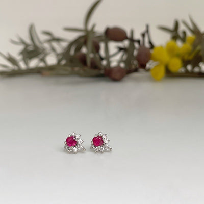 """Tilly"" Ruby & Diamond Studs Earrings Jason Ree Design"