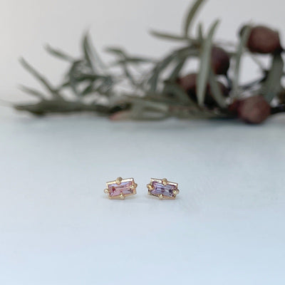 """Mosaic"" Coral Pink Sapphire Stud Earrings Earrings JasonRee"