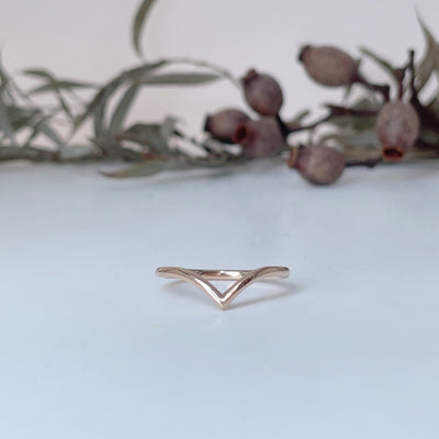"""Wishbone"" Soft Curve 18ct Rose Gold Ring Ring JasonRee"