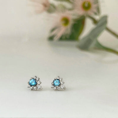 ''Tilly'' Aquamarine & Diamond Studs Earrings Jason Ree Design