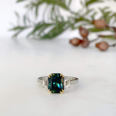 """Nereid"" Teal Australian Sapphire & Diamond Engagement Ring Ring JasonRee"