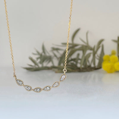 9ct Diamond Droplet Curved Yellow Gold Necklace Pendant JasonRee