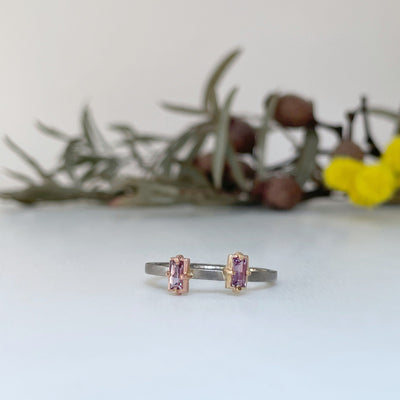 """Mosaic"" Pink Purple Sapphire Duo Stacking Ring 