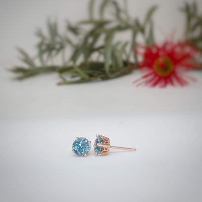 Aquamarine rose gold stud earrings Earrings Jason Ree Design