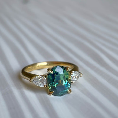 ''Delta'' 3ct Green Australian Sapphire Engagement Ring Ring Jason Ree Design