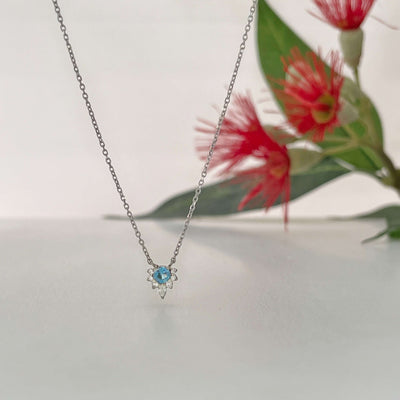 """Tilly"" Aquamarine & Diamond White Gold Necklace Pendant Jason Ree Design"