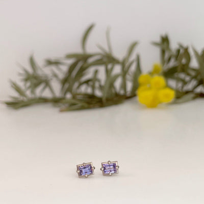 """Mosaic"" Purple Sapphire and White Gold Stud Earrings Earrings JasonRee"