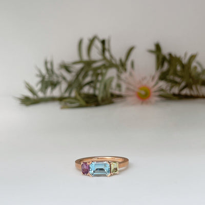 """Mosaic"" Aquamarine and Sapphire Ring Rose Gold Ring JasonRee"