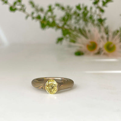 """Lulu"" Gidgee Fancy Yellow Diamond Tension Set Engagement Ring Ring JasonRee"