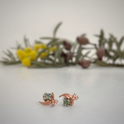''GumLeaf'' Green Sapphire & Rose Gold Studs Earrings Jason Ree Design
