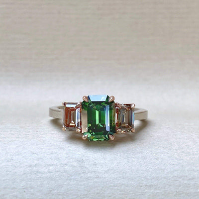 """Dryad"" Green Australian Sapphire & Argyle Champagne Diamond Engagement Ring Ring JasonRee"