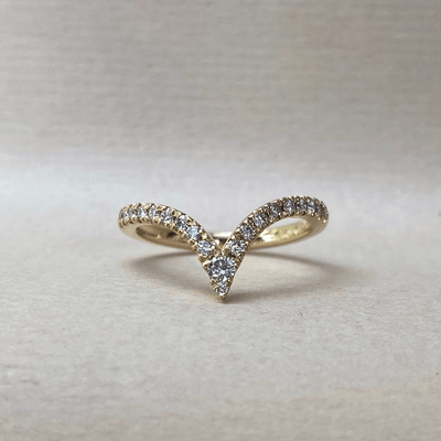 """On Point"" Wishbone Yellow Gold Diamond Ring Ring JasonRee"