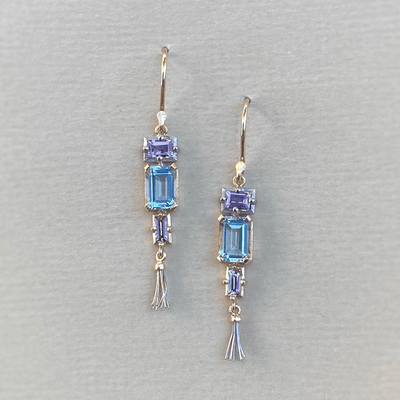 """Mosaic"" Aquamarine and Sapphire Earrings Earrings JasonRee"