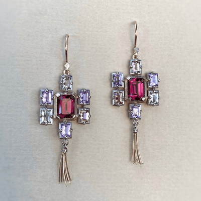 """Mosaic"" Red Lantern Garnet & Sapphire Earrings Earrings JasonRee"