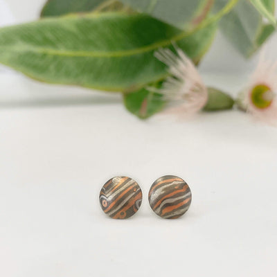 ''Little Planets'' BlueGum Mokume Gane Studs Earrings Jason Ree Design