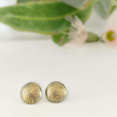 ''Little Planets'' Acacia Mokume Gane Studs Earrings Jason Ree Design