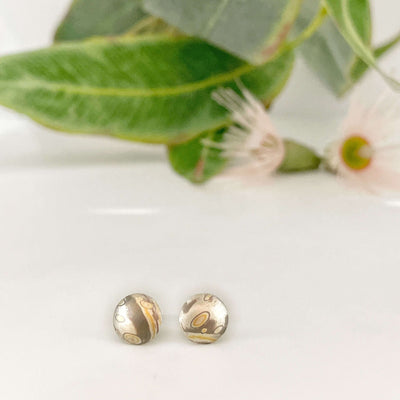 ''Little Planets'' SnowGum Mokume Gane Studs Small Earrings Jason Ree Design