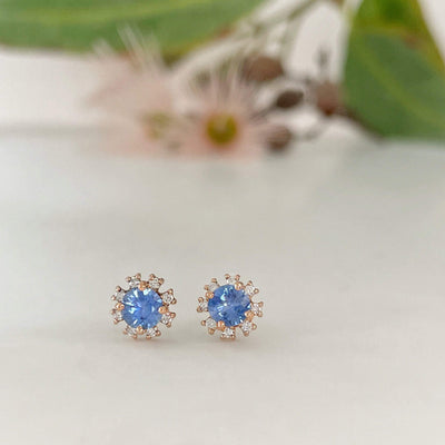 """Catherine"" 0.73ct Ceylon Rose Gold Studs Earrings JasonRee"