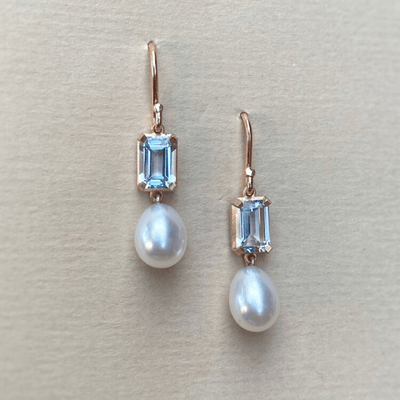 """Chevron"" Aquamarine Pearl Earrings Earrings JasonRee"