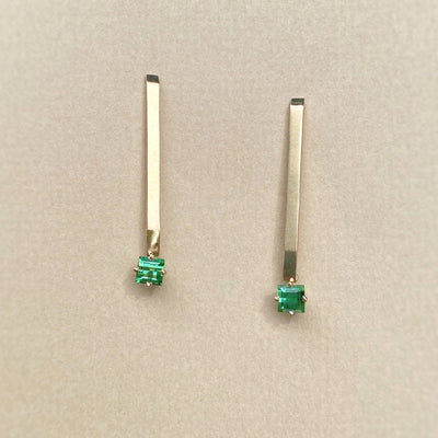 """Eila"" Square Green Tourmaline Bar Drop Earrings Earrings JasonRee"