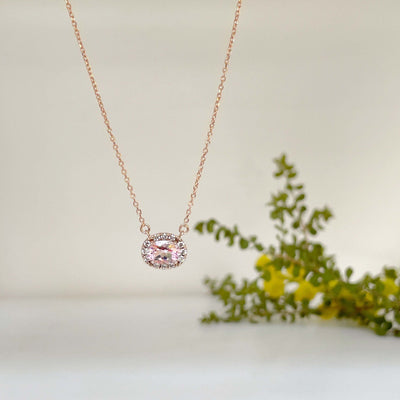 'Anja' Morganite rose gold necklace Pendant Jason Ree Design